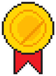 Pixel Art Golden Medal Award Sticker