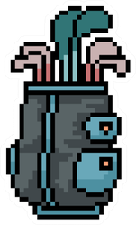 Pixel Art Golf Bag Isolated Sticker