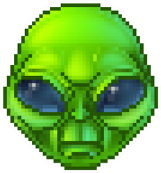 Pixel Art Green Alien Sticker