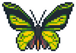Pixel Art Green Butterfly Sticker