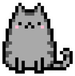 Pixel Art Grey Kitten Sticker