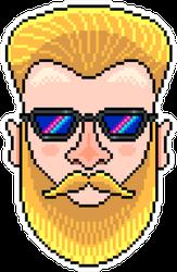 Pixel Art Hipster Portrait Mustache Sticker