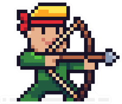 Pixel Art Male Archer Character Aiming For Target Sticker