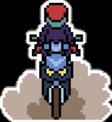 Pixel Art Motorcyclist Sticker