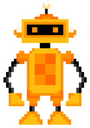 Pixel Art Orange Robot Sticker