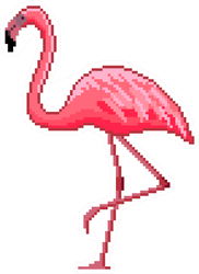 Pixel Art Pink Flamingo Sticker