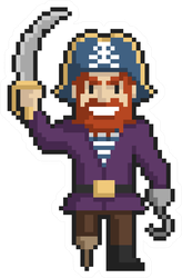 Pixel Art Pirate Sticker