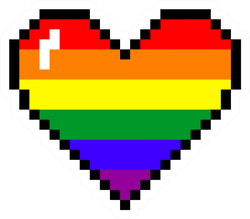 Pixel Art Rainbow Heart Sticker