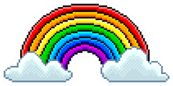 Pixel Art Rainbow With Clouds Sticker