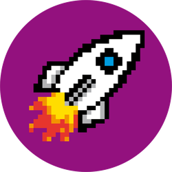 Pixel Art Rocket Circle Sticker