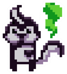 Pixel Art Skunk With Fart Sticker