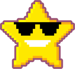 Pixel Art Star With Sunglasses Sticker