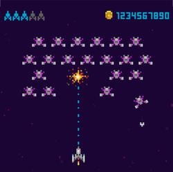 Pixel Art Style UFO Space Arcade Game Sticker