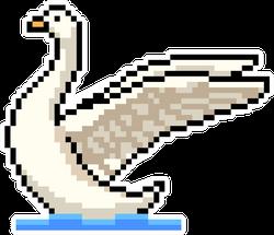 Pixel Art Swan Isolated Cartoon Sticker