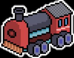 Pixel Art Train Isolated Cartoon Sticker