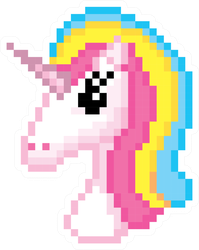 Pixel Art Unicorn Head Sticker