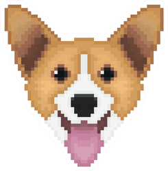 Pixel Art Welsh Corgi Dog Head Sticker