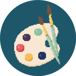 Pixel Palette With Brushes, Art Icon Sticker