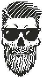 Pixel Rockabilly Skull Sticker