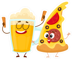 Pizza And Beer Cartoon Sticker