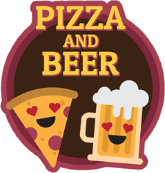 Pizza And Beer Sign With Heart Shaped Eyes Sticker