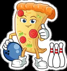 Pizza Bowling Mascot Sticker
