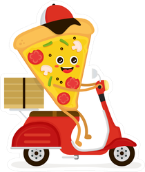 Pizza Delivery Slice Scooter Sticker