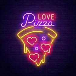 Pizza Love Neon Sign Sticker