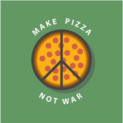 Pizza Peace Sign Sticker