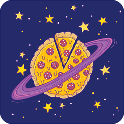 Pizza Planet And Stars Sticker