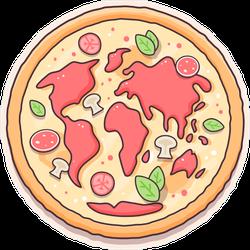 Pizza World Map Sticker