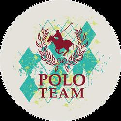 Plaid Polo Player Circle Sticker
