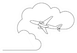 Plane Flying In The Sky Among Clouds Sticker