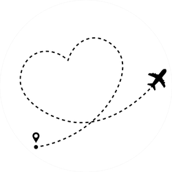 Plane Icon With Heart Shaped Dotted Path Line Sticker