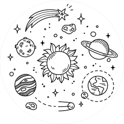 Planet And Space Doodles Sticker