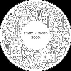 Plant Based Food Doodles Monochrome Sticker