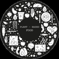 Plant Based Food Doodles White On Black Sticker
