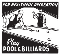 Play Pool And Billiards Retro Art Sticker
