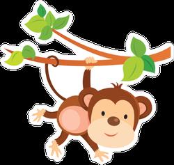 Playful Cartoon Monkey Sticker