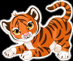 Playful Tiger Cub Sticker
