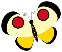 Playful Yellow with Red Spots Butterfly Sticker