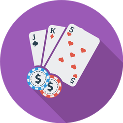 Playing Cards And Poker Chips On Purple Sticker