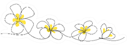 Plumeria Flowers In Continuous Line Art Drawing Style Sticker
