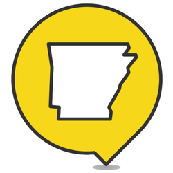 Pointer With Map Of Arkansas Yellow Sticker