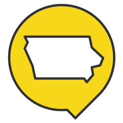 Pointer With Map Of Iowa Sticker
