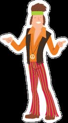 Pointing Hippie Man Sticker