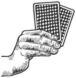 Poker Playing Cards In Hands Sketch Sticker