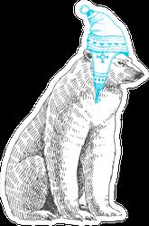 Polar Bear In Winter Hat Sticker