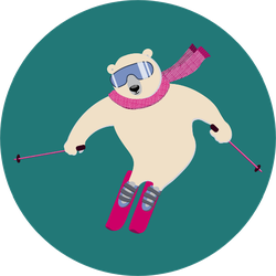 Polar Bear On An Alpine Ski Slope Sticker