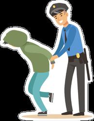 Police Officer Arresting Criminal Sticker